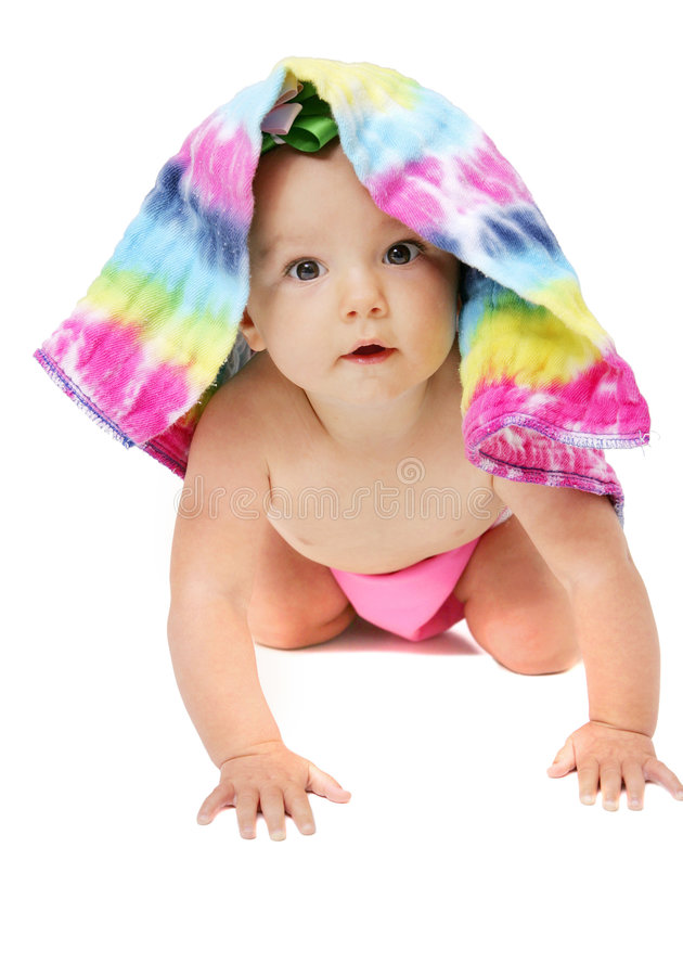 Baby girl under cloth diaper royalty free stock photo