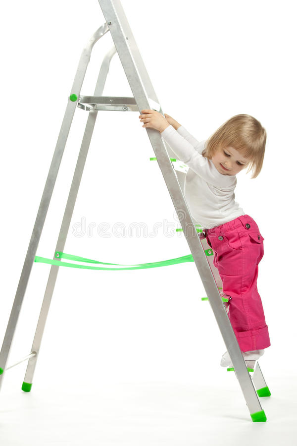 Download A Baby Girl Walking Down The Stepladder Stock Image - Image: 24766347