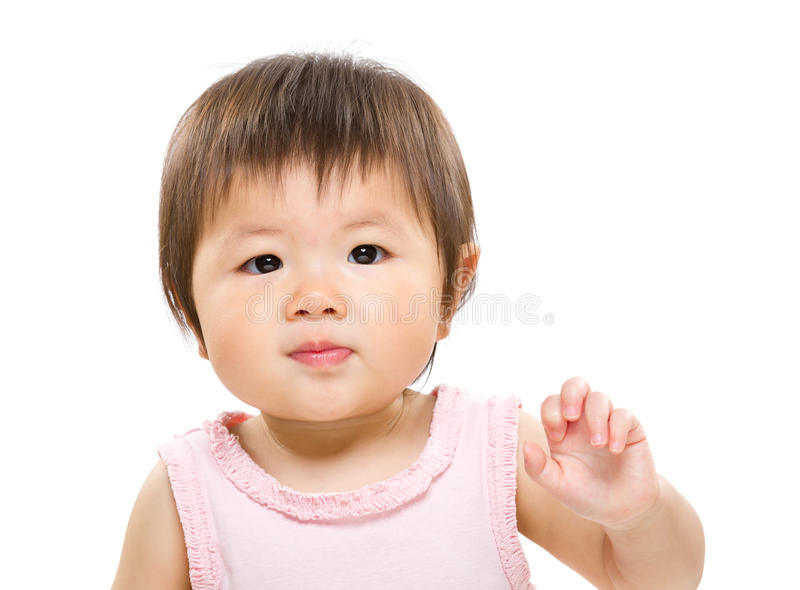 Baby girl wave arm royalty free stock photo