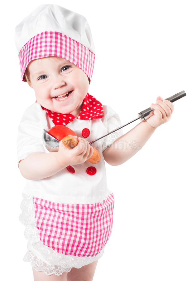 Download Baby Girl Wearing Chef Hat With Vegetables And Pan Isolated On White Background.The Concept Of Healthy Food And Childhood Stock Images - Image: 31390394