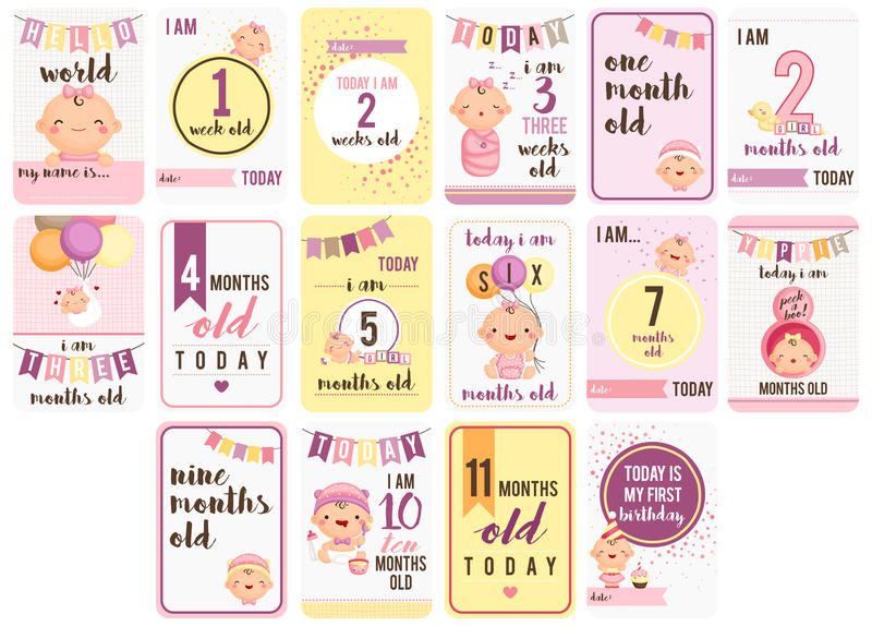 Baby Girl Weeks and Months Card royalty free illustration