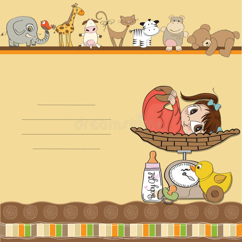Baby girl on on weighing scale royalty free illustration