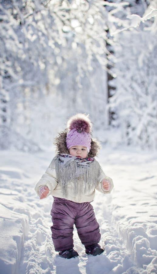 Baby Girl At Winter Stock Photos