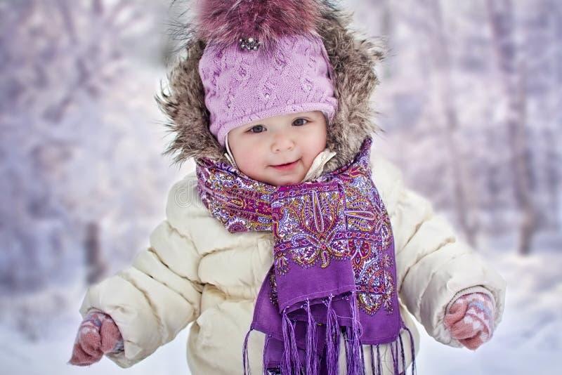 Baby girl at winter stock photo