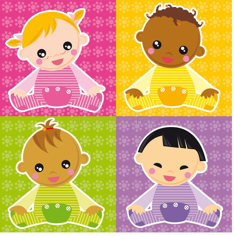 Baby girls. Illustration of four different races girls