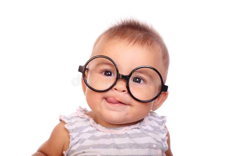 Baby and glasses stock photography