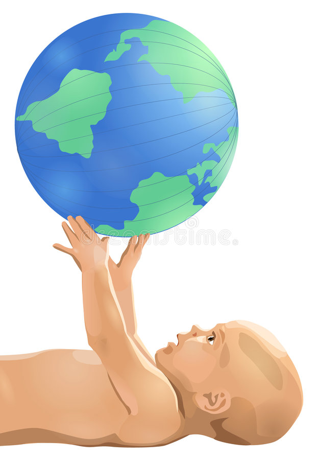 Baby with globe royalty free illustration