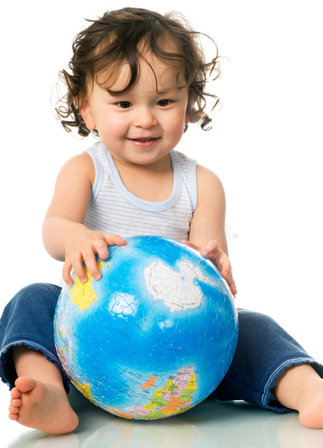 Download Baby With Globe Puzzle. Royalty Free Stock Photos - Image: 4245238