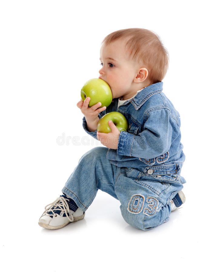 Download Baby With Green Apple Royalty Free Stock Image - Image: 17634896