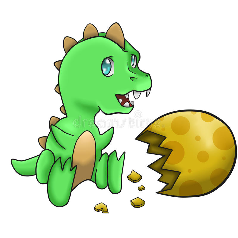 Baby Green Dinosaur vector illustration