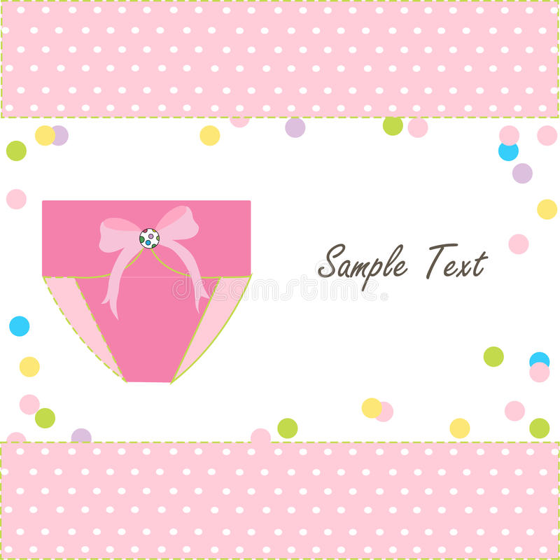 Baby greeting card with napkin vector. Pink baby greeting card with napkin vector royalty free illustration