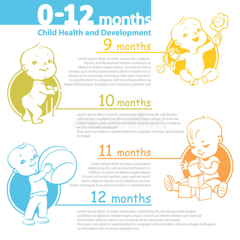 baby growing up infographic stock vector illustration of first baby 69176436. Black Bedroom Furniture Sets. Home Design Ideas