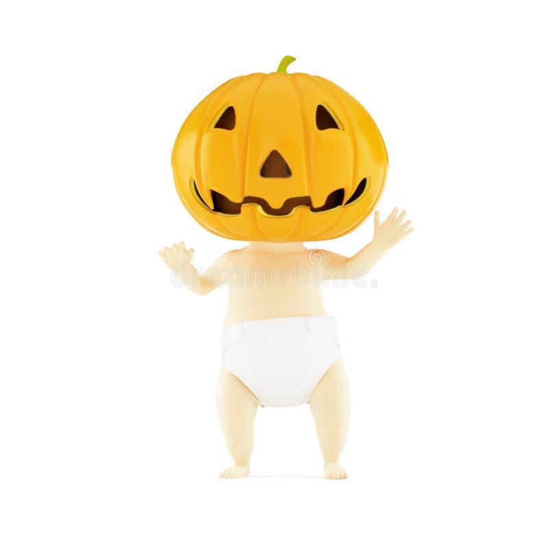 Baby Halloween auf einer weißen Illustration des Hintergrundes 3D, Wiedergabe 3D stock abbildung