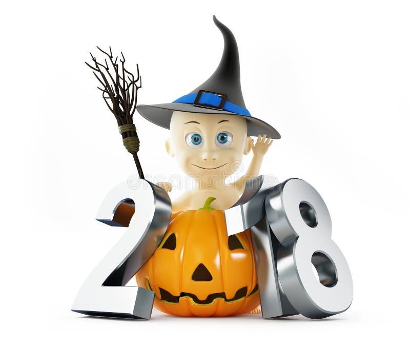 Baby Halloween 2018 auf einer weißen Illustration des Hintergrundes 3D, Wiedergabe 3D vektor abbildung