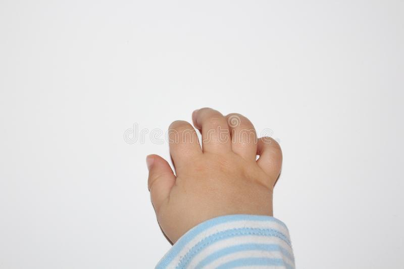 Baby hand. Baby fingers. Closeup of baby hand or fingers isolated on white. royalty free stock photos