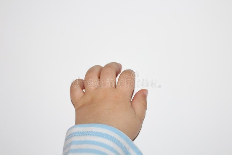 Baby hand. Baby fingers. Closeup of baby hand or fingers isolated on white. royalty free stock images