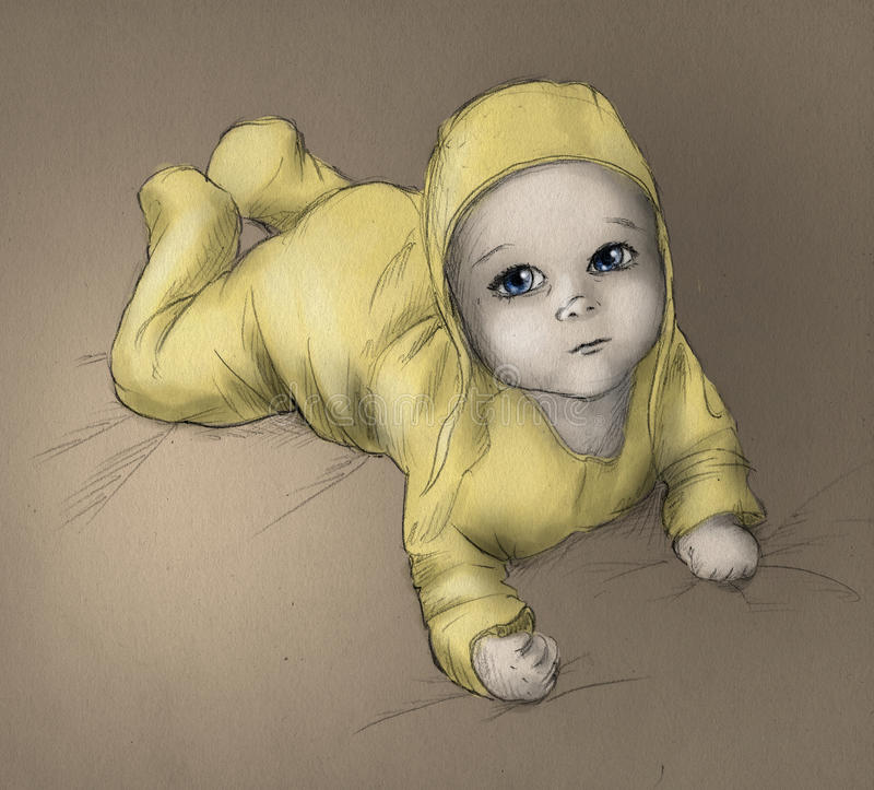 Download Baby - Hand Drawn Sketch - Color Stock Illustration - Image: 14931402
