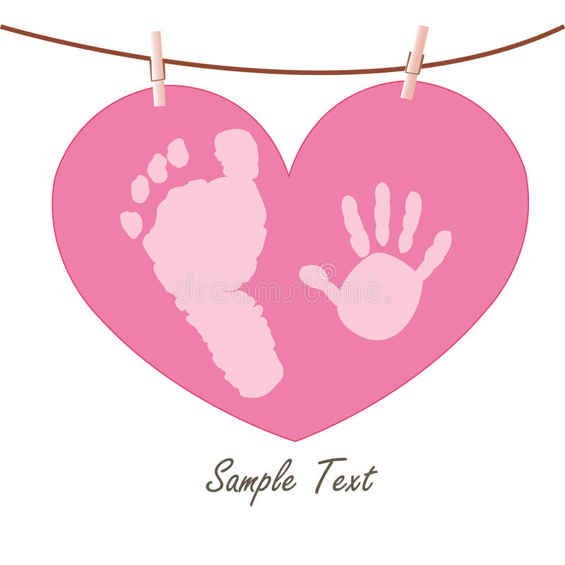 Baby hand and feet prints with heart greeting card. Vector stock illustration