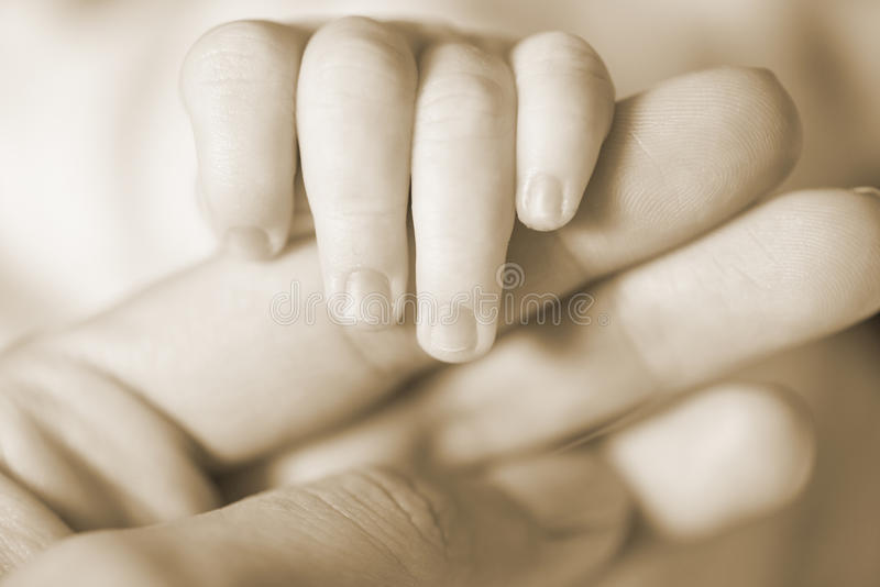 Baby hand. Hand the sleeping baby in the hand of mother close-up royalty free stock photography