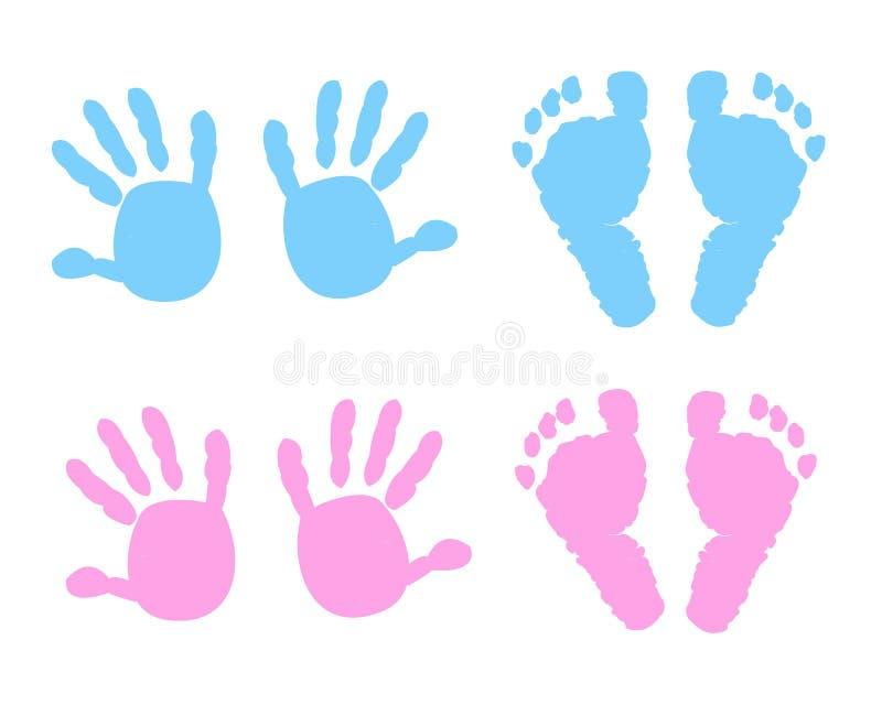 Baby handprint and footprint illustration royalty free illustration