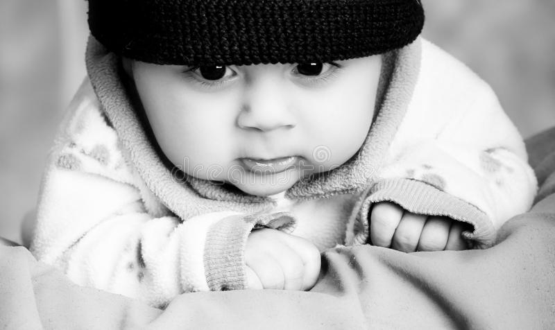 Baby with hat. A 4 weeks old baby boy wearing a santa hat for christmas stock images