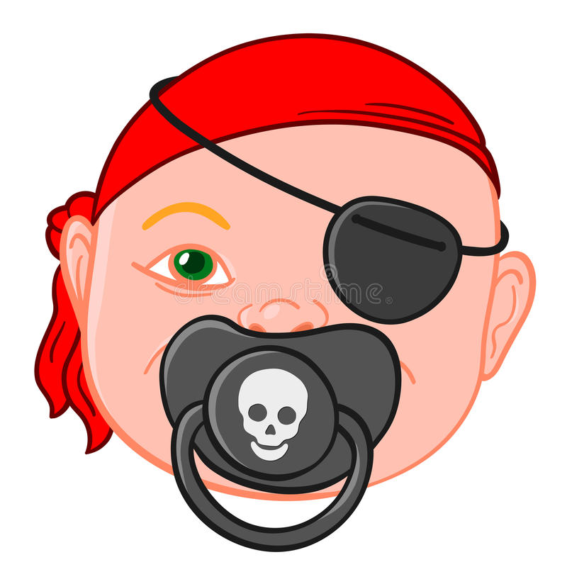 Baby head with pirate pacifier. Baby head wearing a red bandanna with a pirate pacifier bearing a picture of a skull symbolic of piracy and buccaneers, vector stock illustration