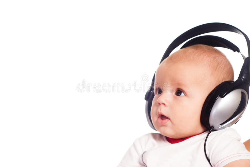 Download Baby with headphones stock photo. Image of music, small - 20855902