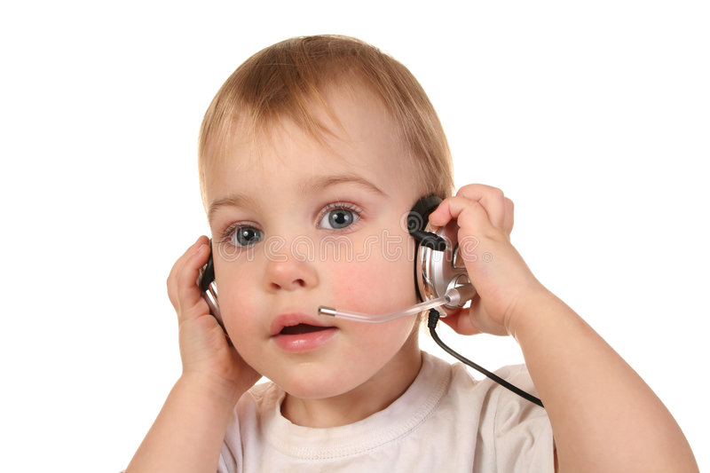 Download Baby with headphones 3 stock image. Image of communications - 1863035