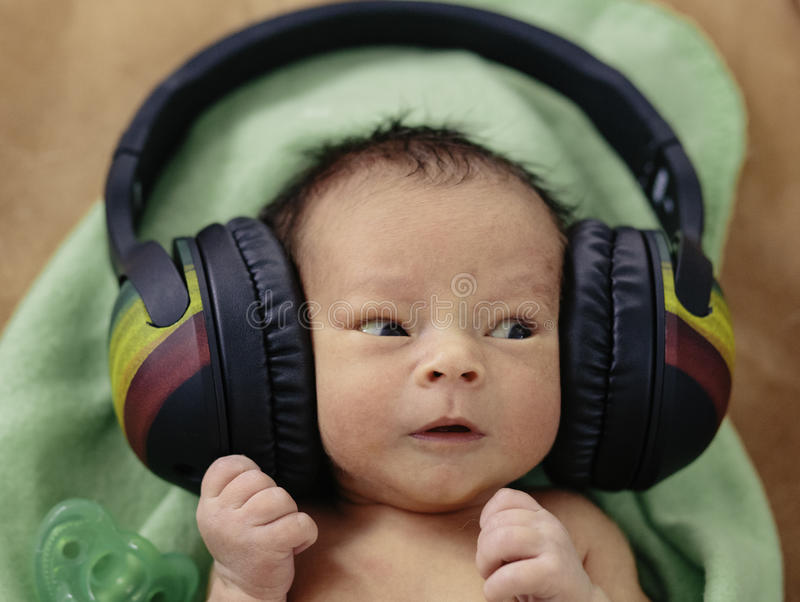 Baby with Headphones stock image. Image of inspiration ...