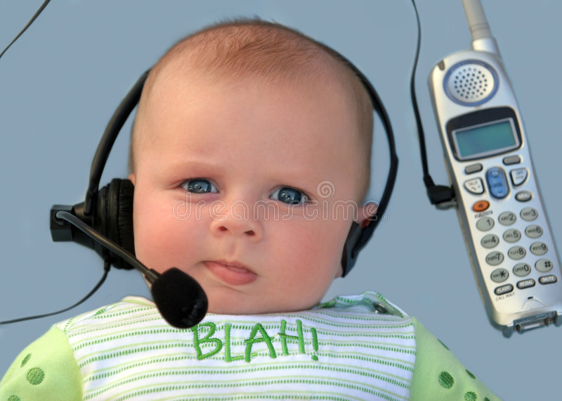 Download Baby with a headset stock image. Image of customer, blue - 1412621