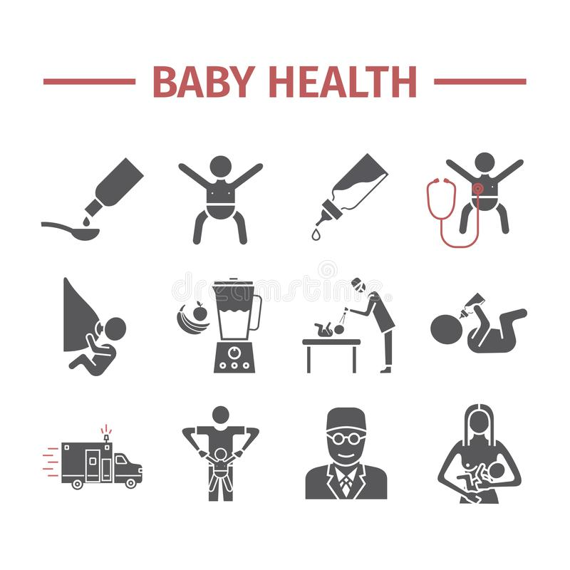 Baby health. Medicine web line icons. Vector signs. Baby health. Medicine web line icons. Vector signs for web graphics stock illustration