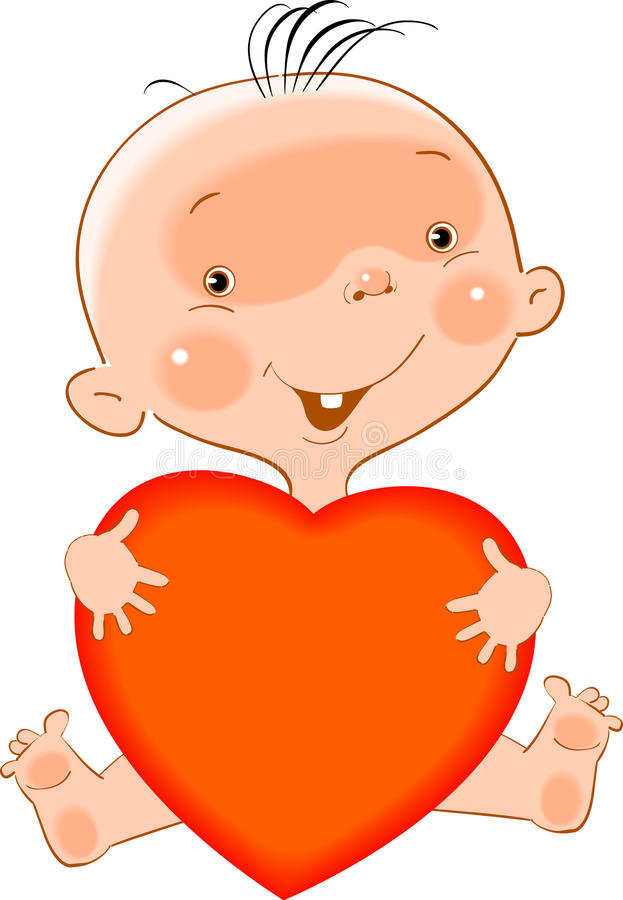 Baby with heart royalty free illustration