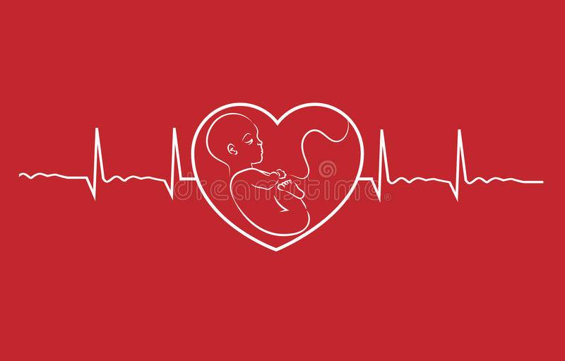 Baby and heart beat. Baby on heart concept linear design vector. Heart beat graph of a pregnant woman royalty free illustration