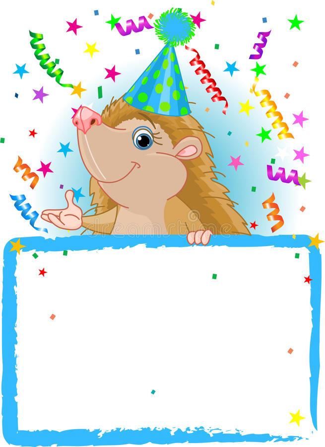 Baby Hedgehog Birthday. Adorable Baby Hedgehog Wearing A Party Hat, Looking Over A Blank Starry Sign With Colorful Confetti royalty free illustration