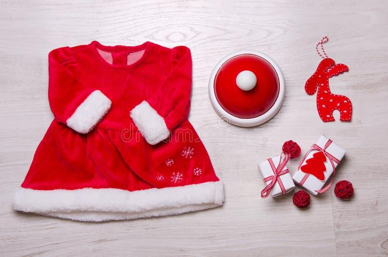 Baby het ckothing, Kerstmisconcept stock fotografie