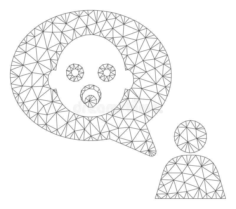 Baby het Denken 2D Model van het Persoons het Vectornetwerk stock illustratie