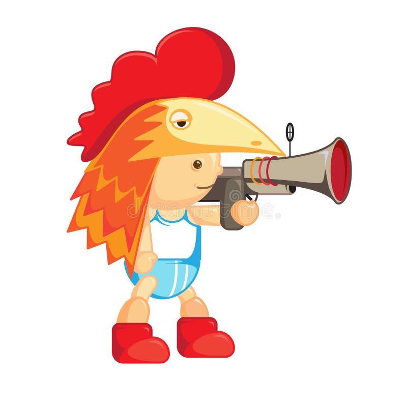 Baby in het kippenmasker kip beeldverhaal karakter Een jongen met een kanon stock illustratie