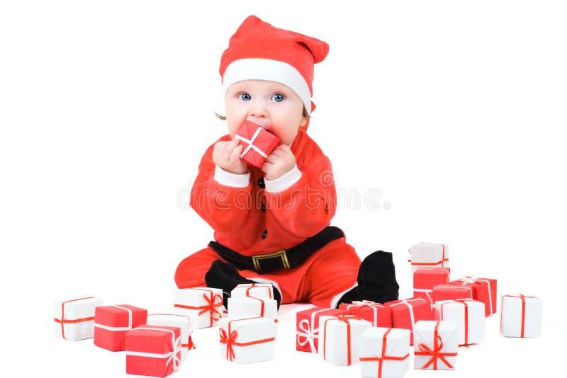 Baby in het Kostuum van de Kerstman stock fotografie
