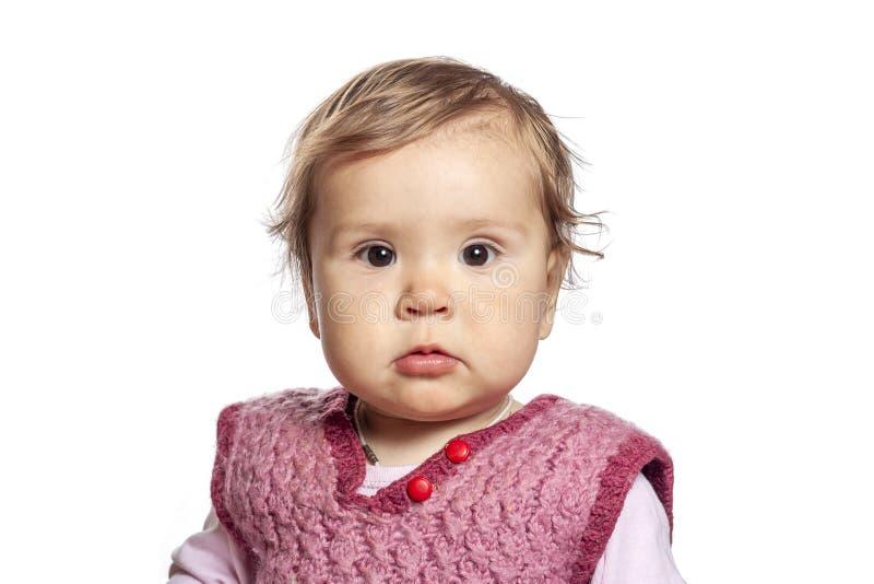 Baby het stellen voor zijn eerste portret royalty-vrije stock afbeelding