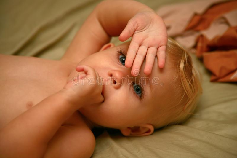Download Baby hiding stock photo. Image of baby, back, child, blue - 9717398