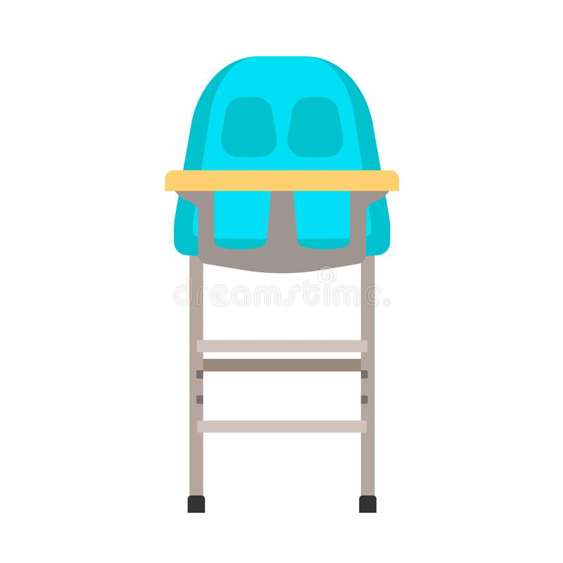 Baby high chair vector icon childhood design. Kid cartoon flat furniture seat. Food dinner table stool toddler stock illustration
