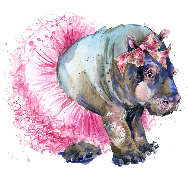 Baby hippo in fashion skirt T-shirt graphics. vector illustration
