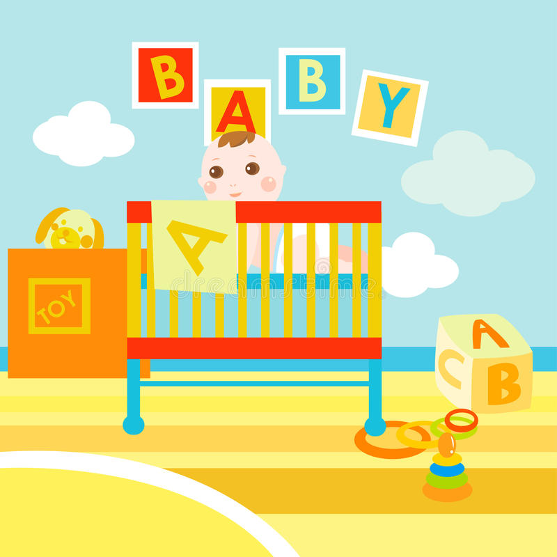 Baby in his cute room stock illustration