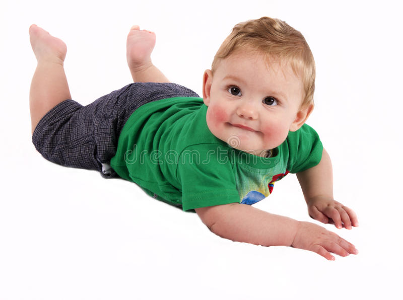 Baby On His Stomach Royalty Free Stock Photos