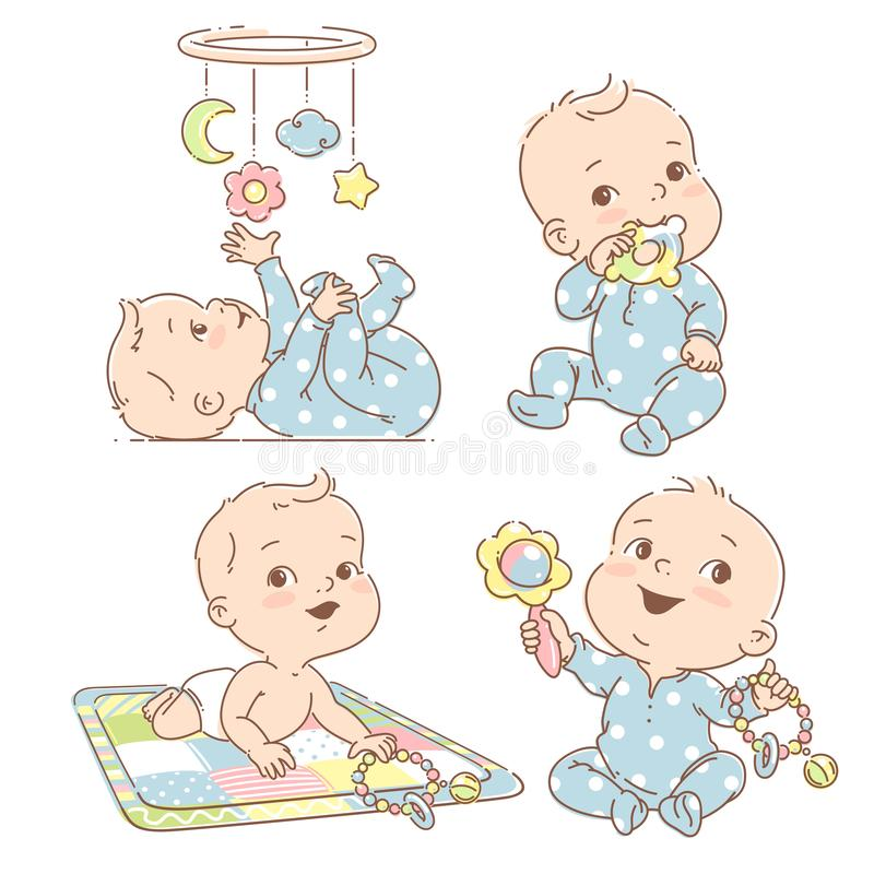 Set with baby boy playing toys. First year games. Baby hold teething toy. Baby lay on developing mat Baby look at mobile. Toddler in pajamas. Colorful vector royalty free illustration