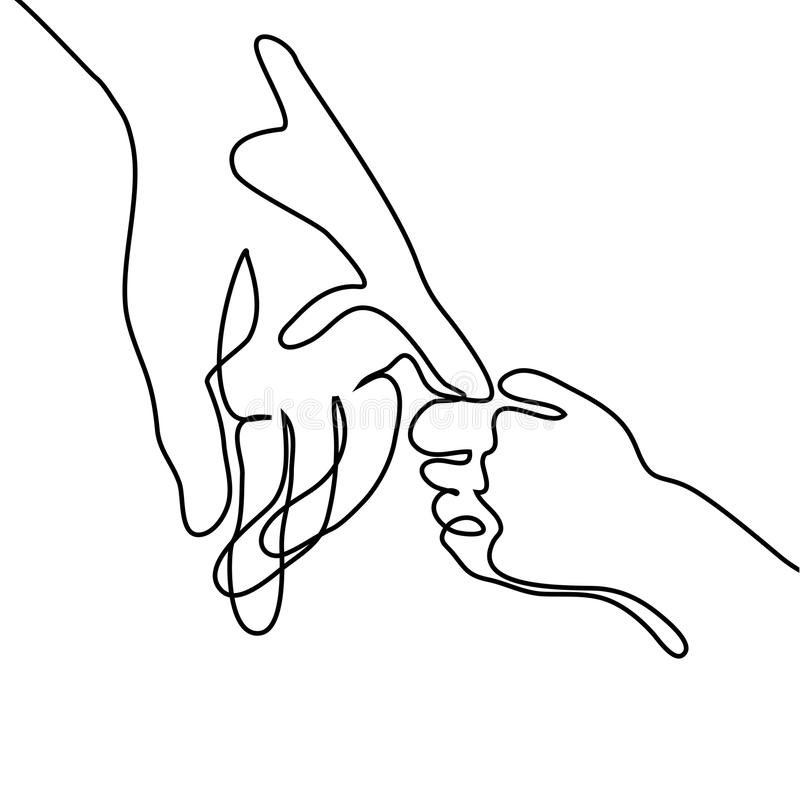 Line Art Baby : Baby holding little finger of adult hands together stock