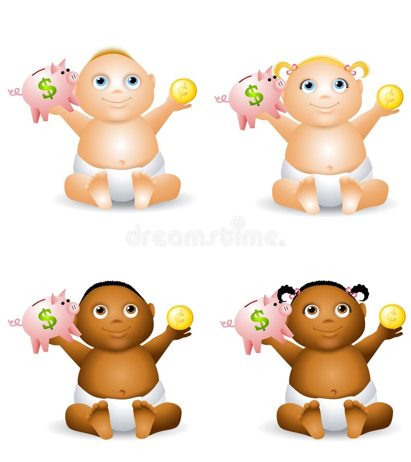 Free Baby Holding Piggy Bank Royalty Free Stock Photography - 7360127