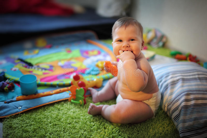 Download Baby at home stock photo. Image of smile, caucasian, fingers - 18202432