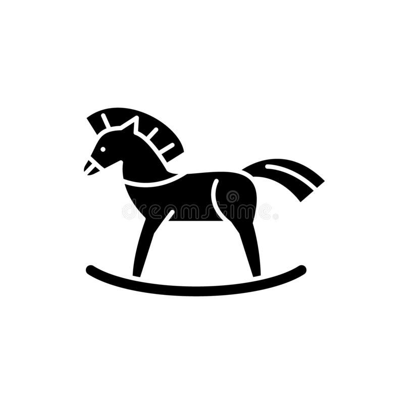 Baby horse black icon, vector sign on isolated background. Baby horse concept symbol, illustration. Baby horse black icon, concept vector sign on isolated royalty free illustration