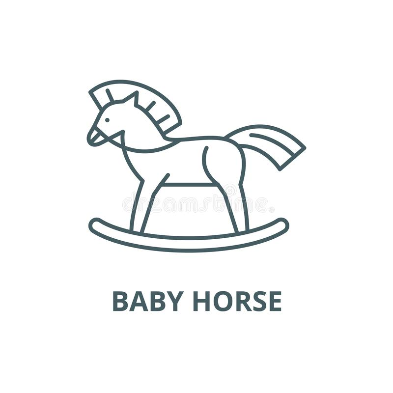 Baby horse line icon, vector. Baby horse outline sign, concept symbol, flat illustration. Baby horse line icon, vector. Baby horse outline sign, concept symbol vector illustration
